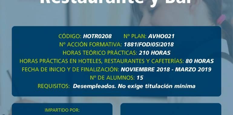 Curso Gratuito en Cebreros: Operaciones Básicas de Restaurante y Bar