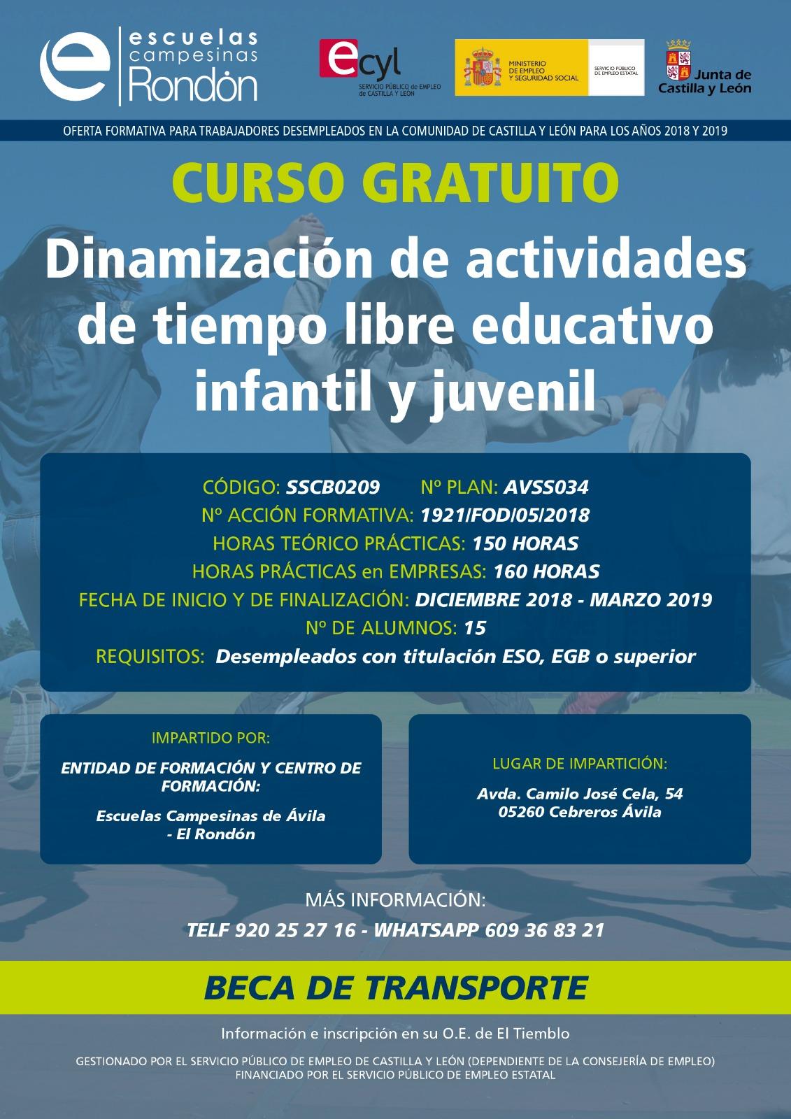 Curso Gratuito en Cebreros: Dinamización de actividades de tiempo libre educativo infantil y juvenil