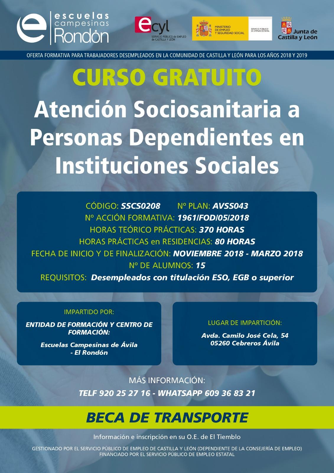 Curso gratuito en Cebreros: Atención Sociosanitaria a Personas Dependientes en Instituciones Sociales