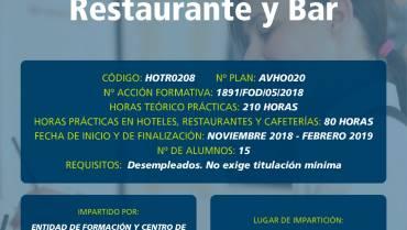 Curso Gratuito en Ávila: Operaciones Básicas de Restaurante y Bar